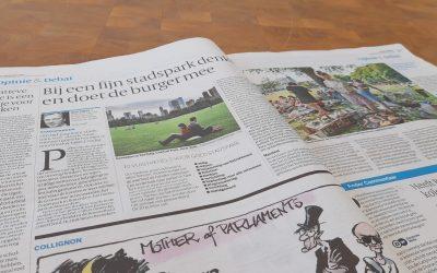 Volkskrant: Bij een fijn stadspark denkt en doet de burger mee