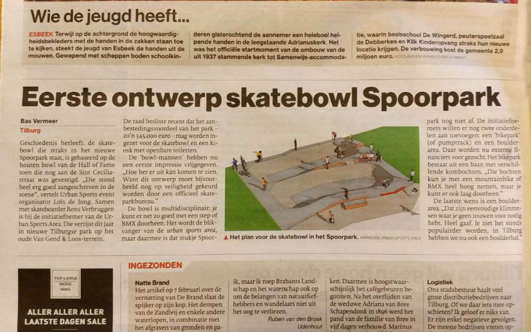 Eerste ontwerp Skatebowl Spoorpark