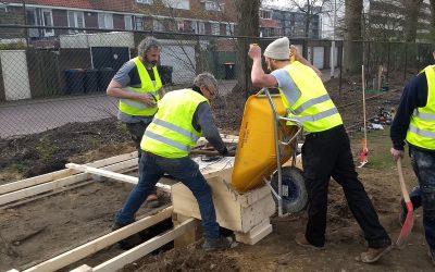 Stadscamping stort beton voor 'sanitair-wagon'